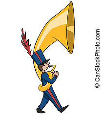 Little Guy, Big Horn - A short member of the marching band...