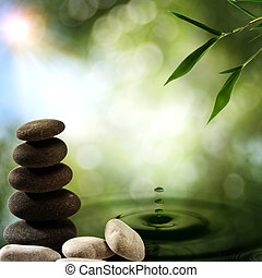 eco, Hintergruende, Wasser, Spritzen, asiatisch, bambus