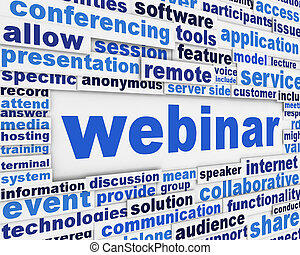 Webinar slogan poster design Online conference message...