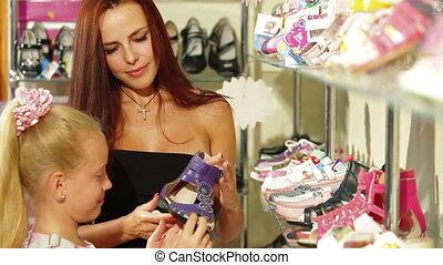 Shopping in Shoe Store
