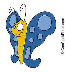 Cute Cartoon Butterfly - A cutesy smiling cartoon butterfly...