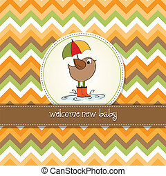 baby shower card with little bird stand in the rain
