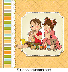 girl and boy plays with toys