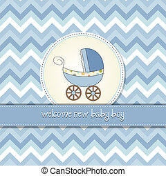 baby boy announcement card with baby