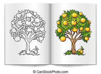 fruit tree drawn on the book bages vector illustration...