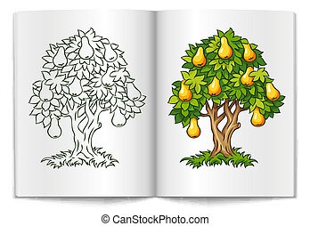 pear tree with ripe fruits on book spread vector...
