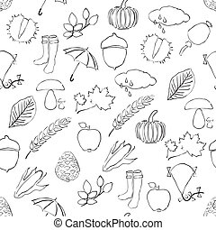 doodle seamless pattern with autumn pictures
