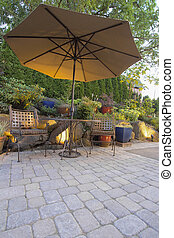 Garden Patio Table and Chairs with Umbrella - Garden...