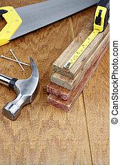 Work tools on wood - Various work tools closeup on wood