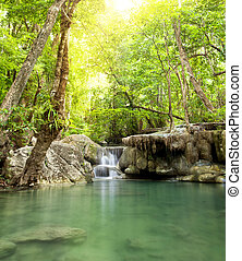 Erawan Waterfall, deep forest Waterfall in Kanchanaburi,...
