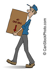 Mover - A mover carrying a box He doesnt seem to care whats...