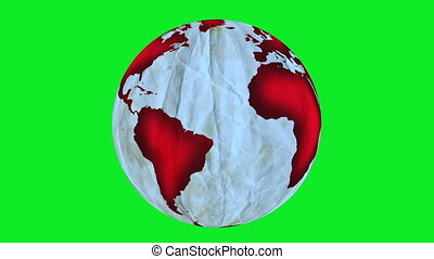 Crumpled Paper Globe Greenscreen
