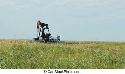 Oil Derrick On Canadian Farm
