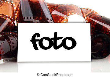 foto - business card with old photographic film