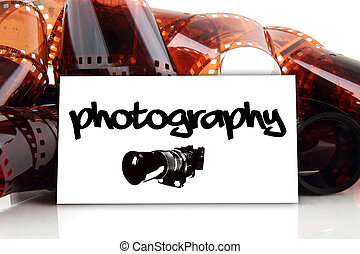 photography - business card with old photographic film