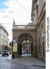 Teatro alla Scala, Milano - View of the arcade, Teatro alla...