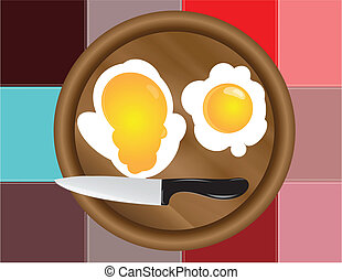 Colored squares dark and fried eggs - Fried eggs on the...