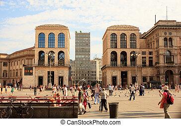 Duomo square, Milan - View of Duomo square in Milan - Italy