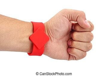 RFID Bracelet on his hand - RFID Bracelet on his hand on a...