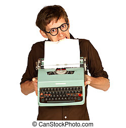 Man Pulling Paper from a Vintage Typerwriter with his Teeth...