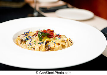 Italian pasta with mushroom cream sauce