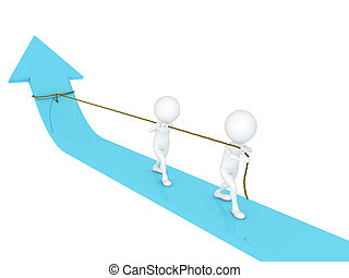 3d man business boss pulling a rope