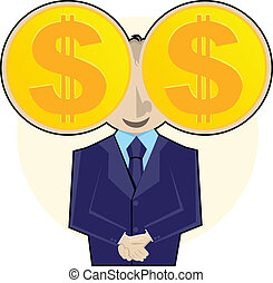 I See Money - Smiling businessman with gold dollar coins as...