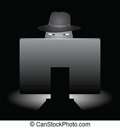 Internet Evil Scheme - Evil looking hacker with hat doing...