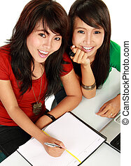 two young asian student studying - top view portrait of...