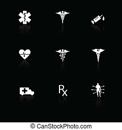 Medical icons white on black with reflections.