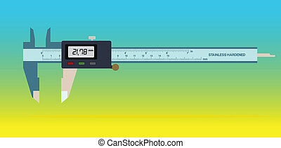 Vernier caliper tool isolated on color background. Vector...