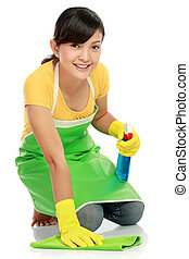 woman cleaning the floor - attractive asian woman cleaning...