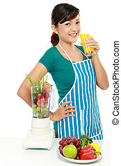 woman making a fresh juice