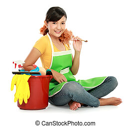 woman with cleaning equipment - portrait of beautiful asian...