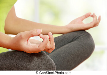 meditation - Close up hands of woman doing meditation