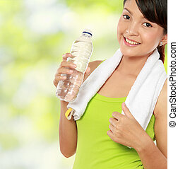 fitness woman with water