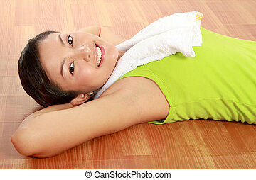 healthy woman resting - Portrait of gorgeous young female...