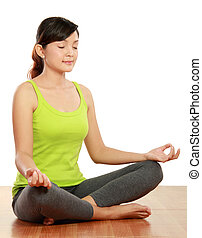 woman meditation - portrait of healthy woman doing...