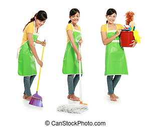 housework - three different action of woman doing her...