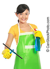 woman cleaning windows - portrait of Attractive young woman...