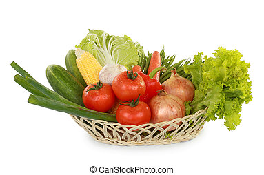 fresh healthy vegetables in the basket on white background