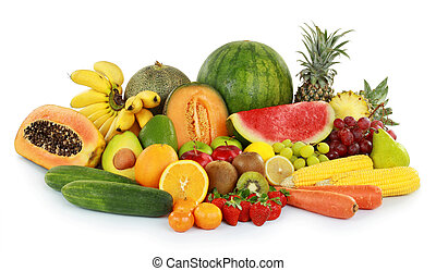 fresh fruits - collection of delicious fresh fruits isolated...