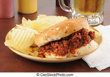 Sloppy Joe and potato chips - A sloppy joe hamburger with...