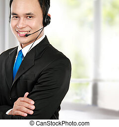 male young call center - Closeup portrait of young call...