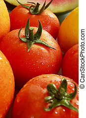 fresh tomato - close up of fresh vegetables tomato