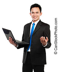 asian business man with a laptop - Portrait of a smiling...