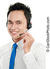 male young call center operator - Closeup portrait of young...