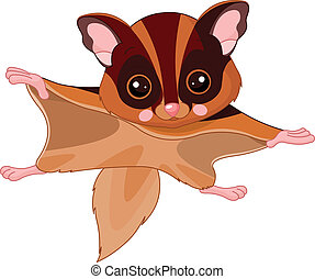 Fun zoo. Flying squirrel - Fun zoo. Illustration of cute...