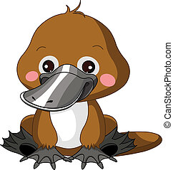 Fun zoo. Platypus - Fun zoo. Illustration of cute Platypus...