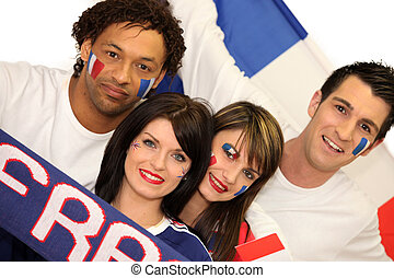 Two couple supporting French football